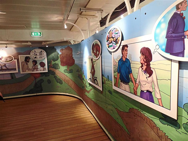 Children-friendly walls are set up to entertain younger visitors